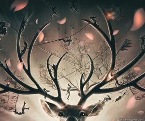 deer, art, and tomb raider image