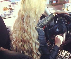 hair, blonde, and car image