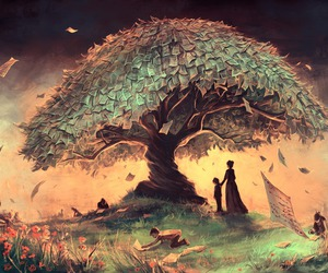 tree, art, and book image