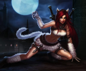 cat, Katarina, and lol image