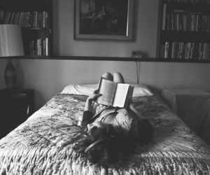 book, girl, and bed image