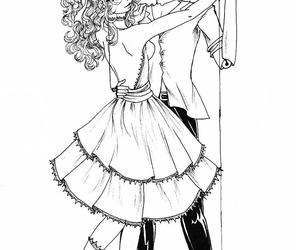 black and white, dancing, and draw image