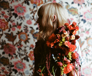 floral, flowers, and red image