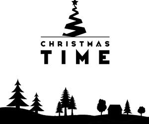 b&w, black, and christmas image