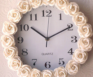 flowers, clock, and vintage image