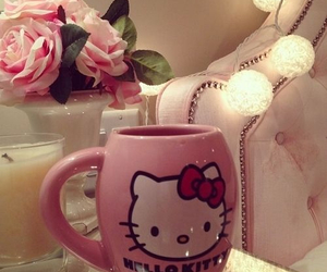 hello kitty, cup, and pink image