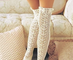 home, lace, and socks image