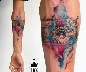 tattoo, watercolor, and colorful image