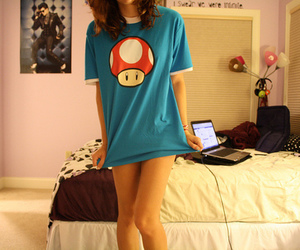 girl, blue, and mario image