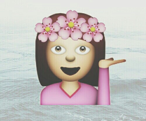 emoji, flowers, and wallpaper image