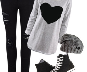 black, black converse, and style image