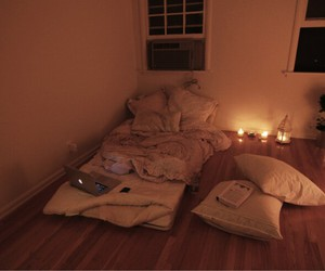 bed, room, and candle image