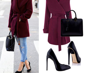 black, burgundy, and coat image