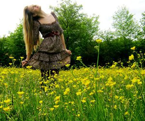 blonde, grass, and hair image