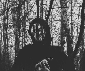 creepy, black and white, and skull image