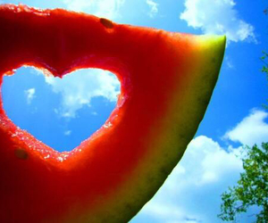 blue sky, heart, and watermelon image
