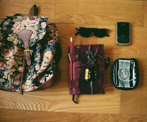 bag, blackberry, and diary image
