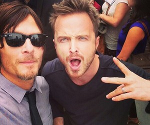 norman reedus, aaron paul, and breaking bad image