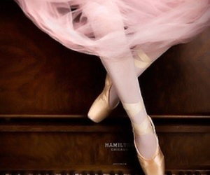 piano, ballet, and pink image