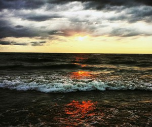 sunset, sea, and clouds image