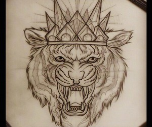 art, crown, and drawing image