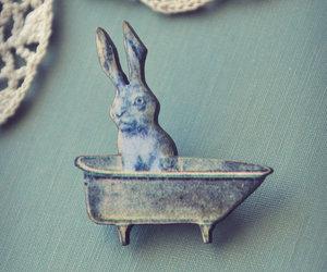 bathtub, rabbit, and brooch image
