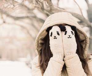 winter, girl, and panda image