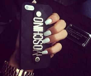 nails, Moschino, and black image