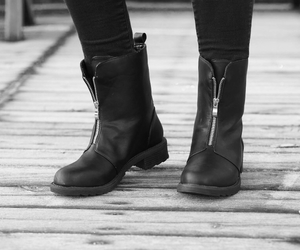 black and white, boots, and details image