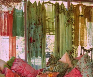 bed, bedroom, and boheme image