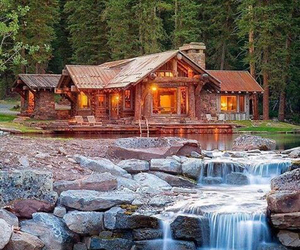 forest, house, and waterfall image