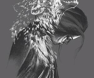 wolf, girl, and art image