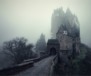 atmospheric, castle, and fog image