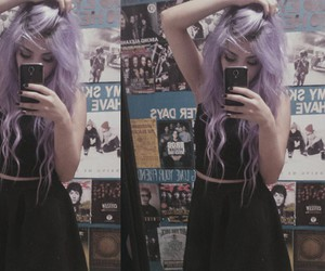 beautiful, girl, and purple hair image