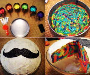 cake, mustache, and food image