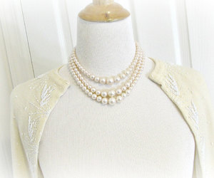blush pink pearl necklace and triple pearl necklace image