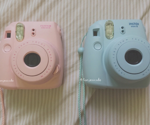 blue, camera, and instax image