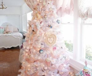 christmas, tree, and pink image