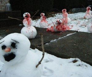 snow, snowman, and blood image