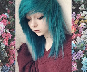 alt girl, blue hair, and grunge image