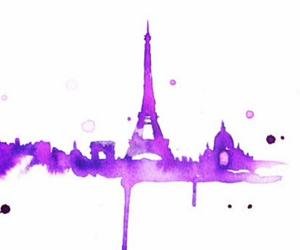 eiffel tower, paint, and purple image