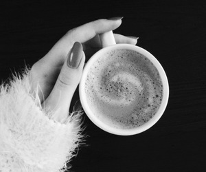 black and white, coffee, and fashion image