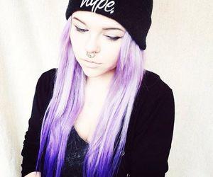 alt girl, dyed hair, and purple hair image