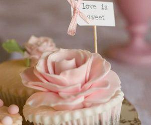 cupcake, rose, and love image