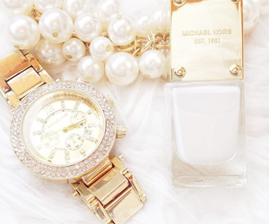 white, gold, and Michael Kors image