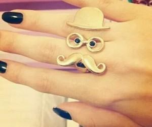 ring, mustache, and nails image