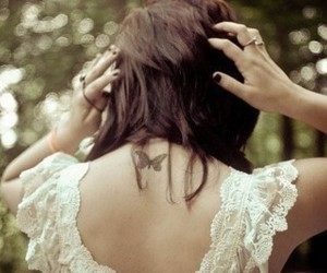 butterfly, hair, and rings image