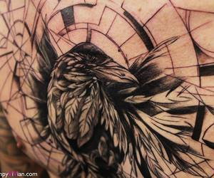 crow tattoo, dark arts, and chest piece tattoo image