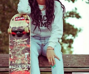 brunette, rebel, and skate image