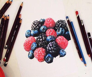 art, berries, and blueberry image